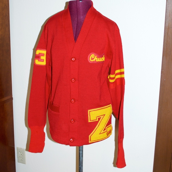 463d83a38 Vintage Red Yellow Varsity Letterman Sweater Z 73